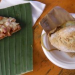 Food served on leaves and compostable plates