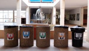 Re-arranged dustbins in the school yard