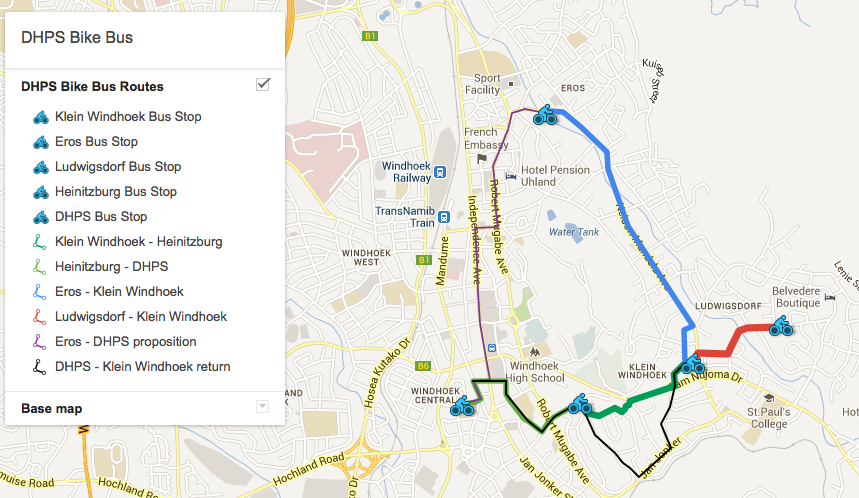 Routes which the second bike bus is going to follow