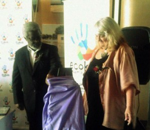 Mr. Mvula Ya Nangolo and Ms Virginia Witts unveil the EcoKids logo