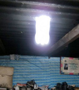 Solar water bottle installed = 60W of light